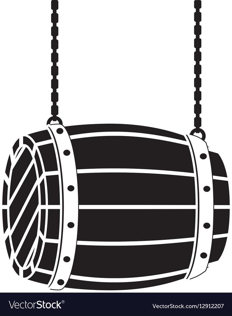 Black wooden barrel icon image design