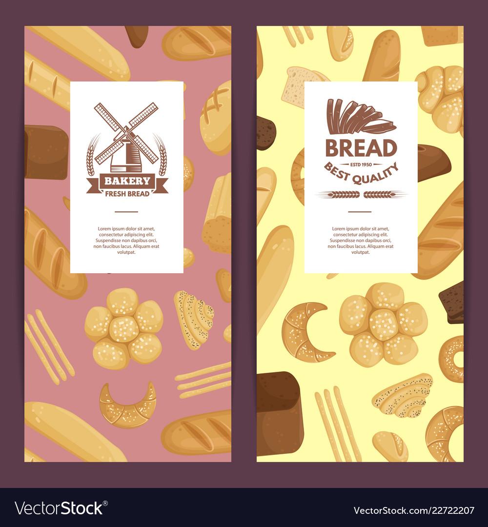 Cartoon bakery elements flyer templates
