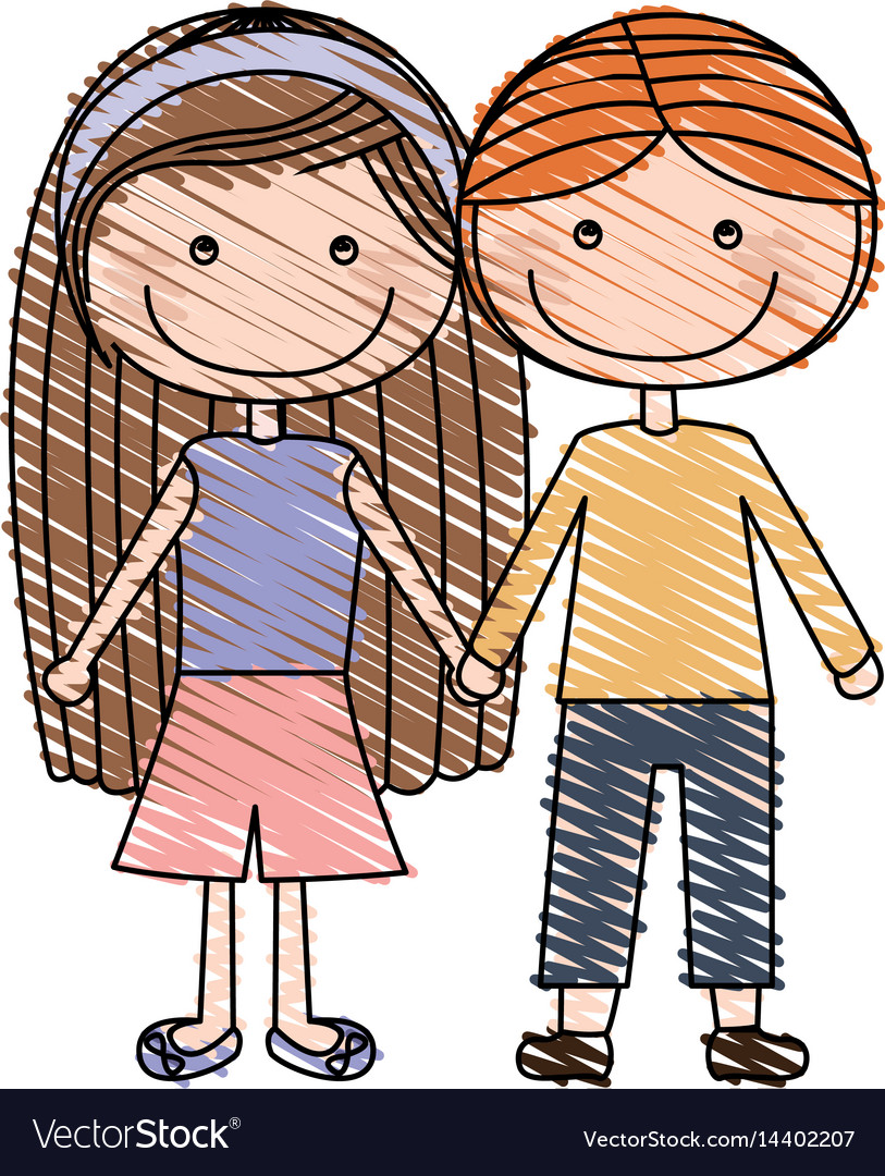Color pencil drawing of caricature couple kids in