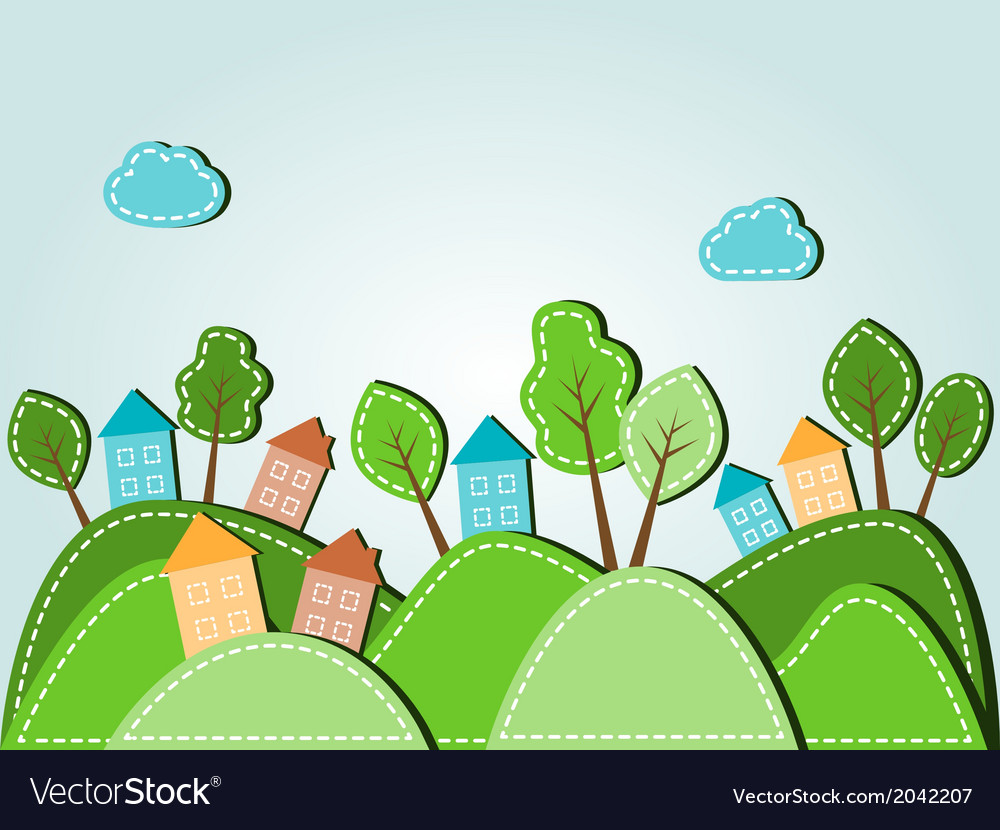 Dashed landscape houses with trees vector image