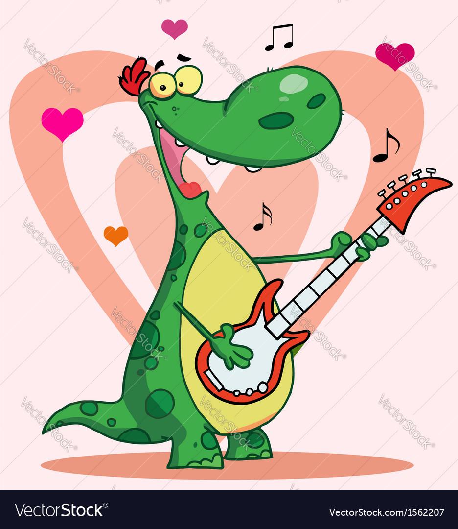 Dinosaur Guitar Cartoon Vector Image