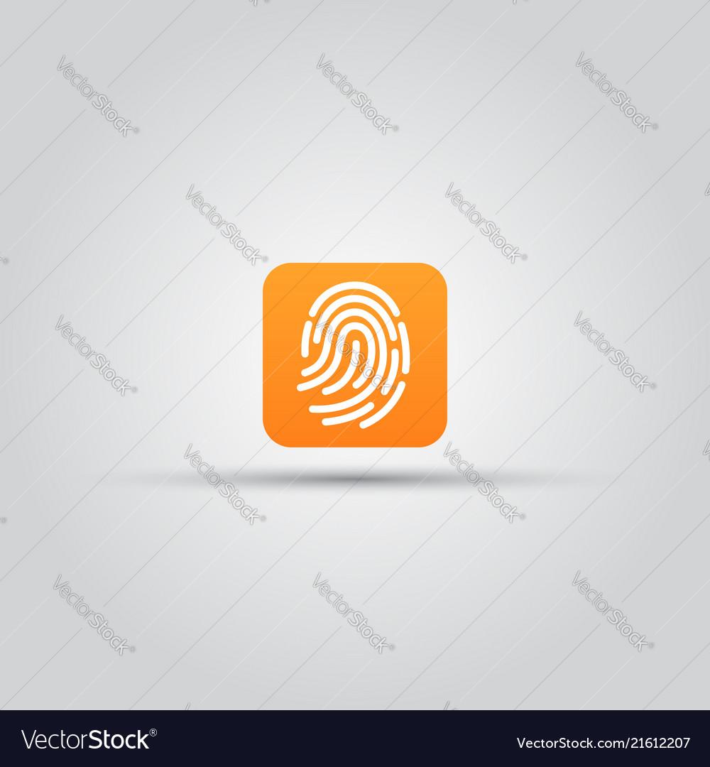 Fingerprint scanner isolated square icon
