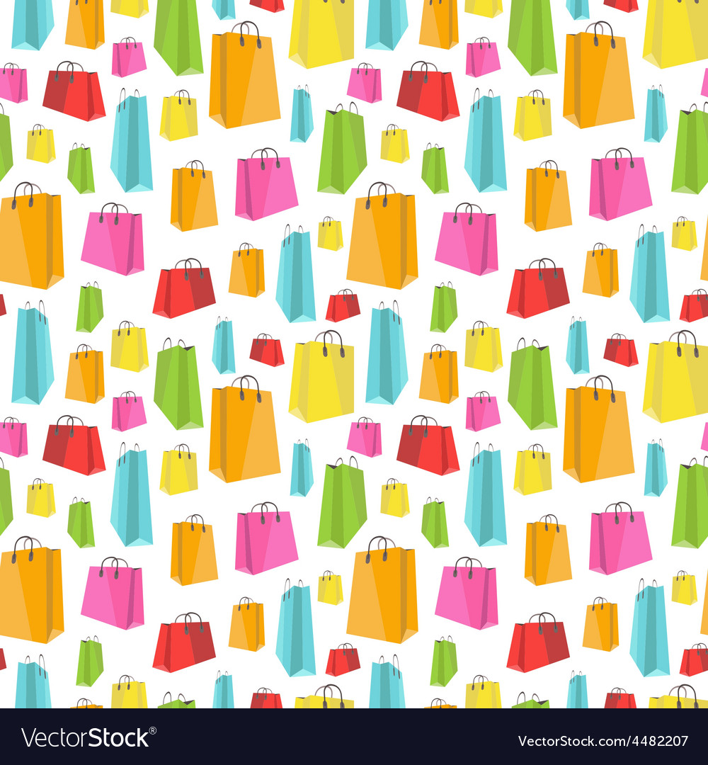 Flat colorful shopping bags on white seamless