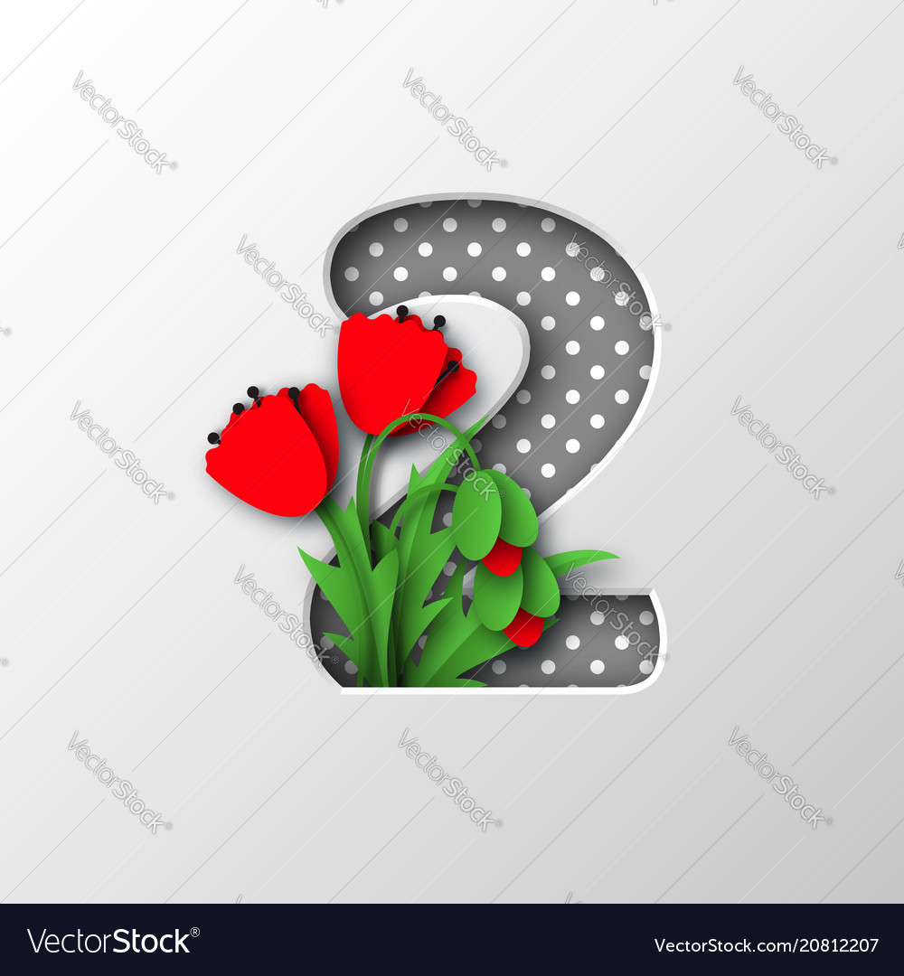 Paper Cut Number 2 With Poppy Flowers Royalty Free Vector