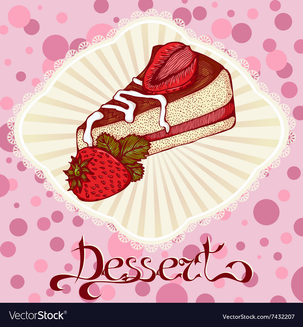 Piece Of Cake With Strawberries Color Drawing Card