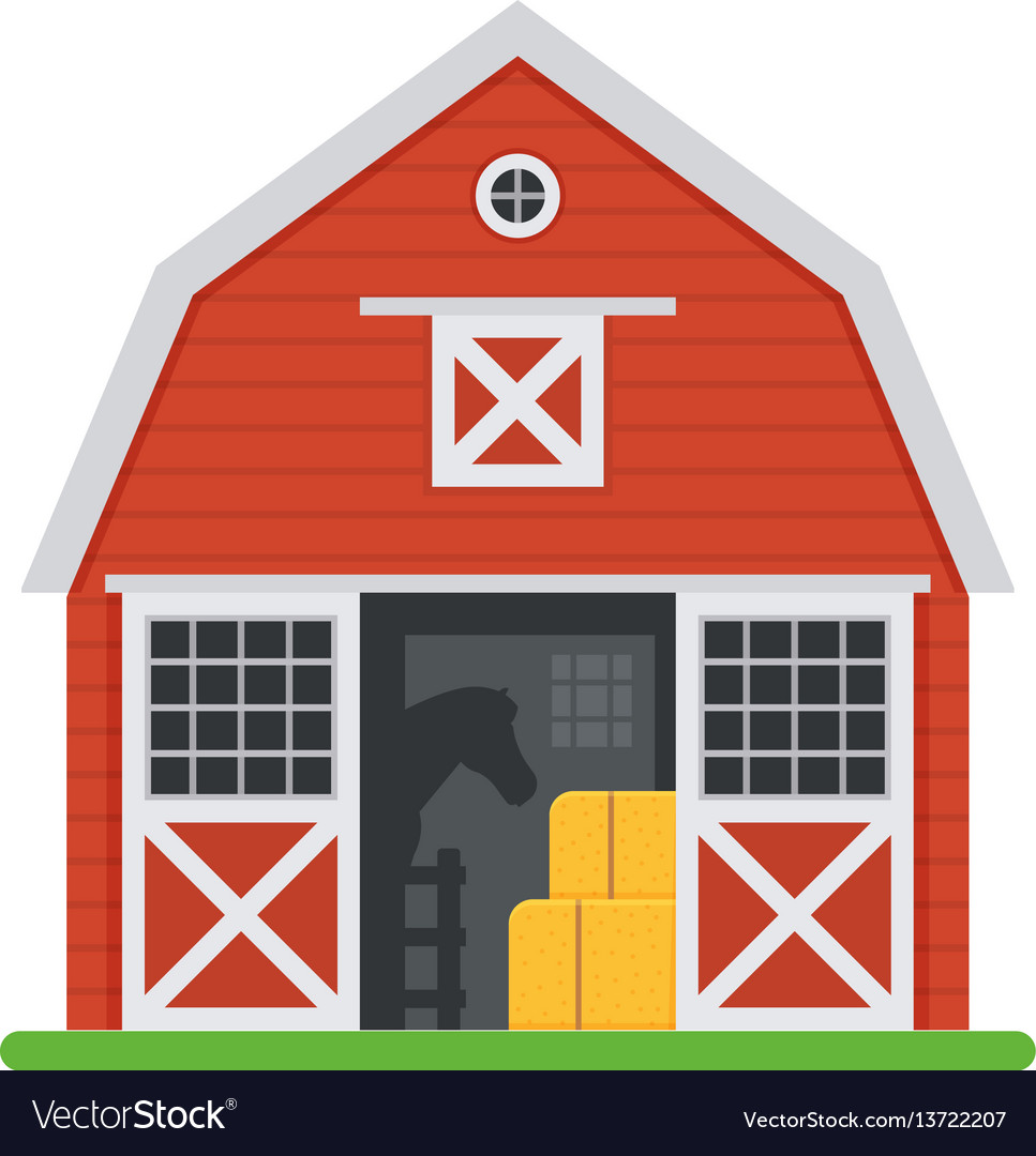 Red Horse Barns In Flat Design