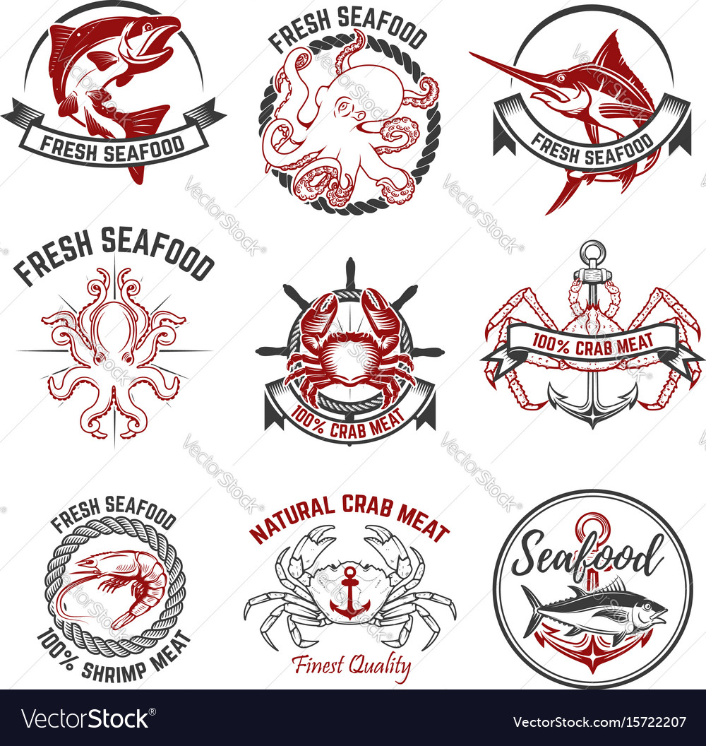 Set of the seafood labels isolated on white