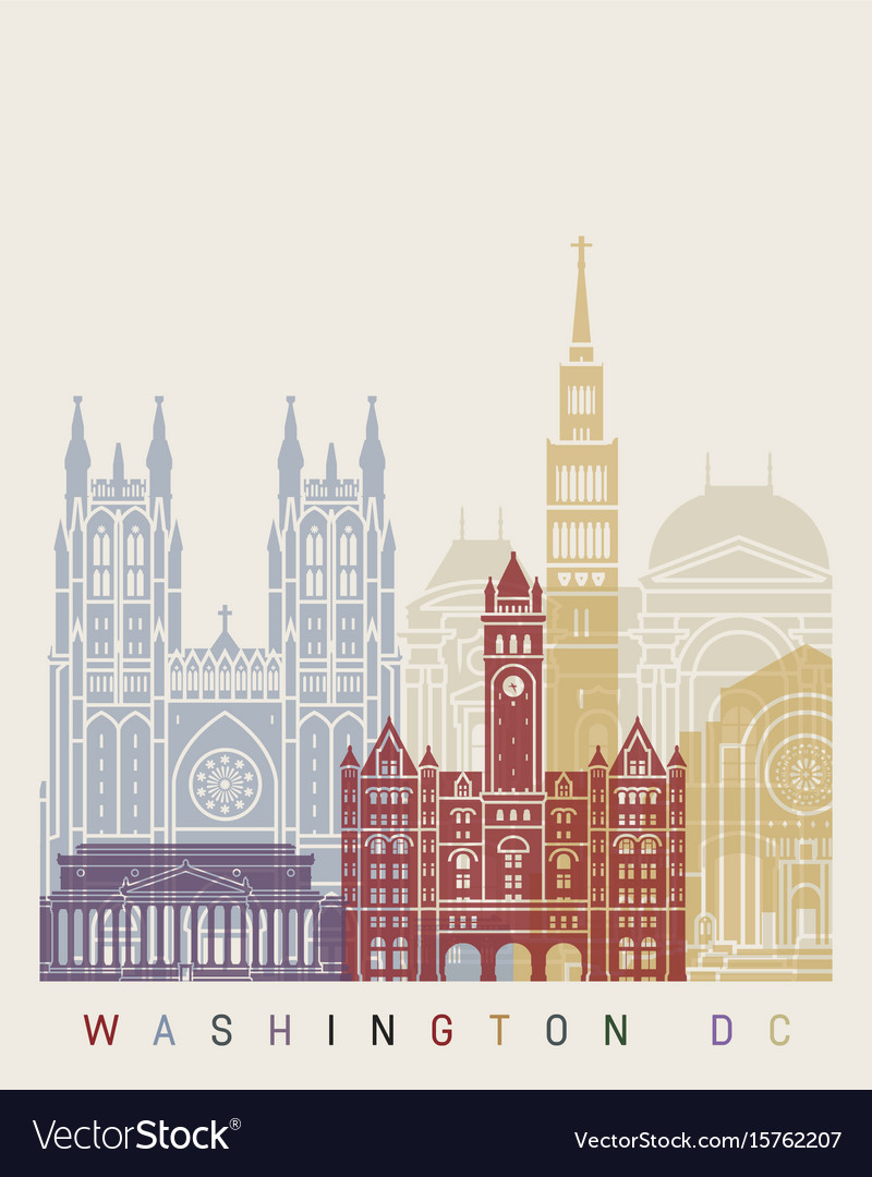 Washinton dc v2 skyline poster