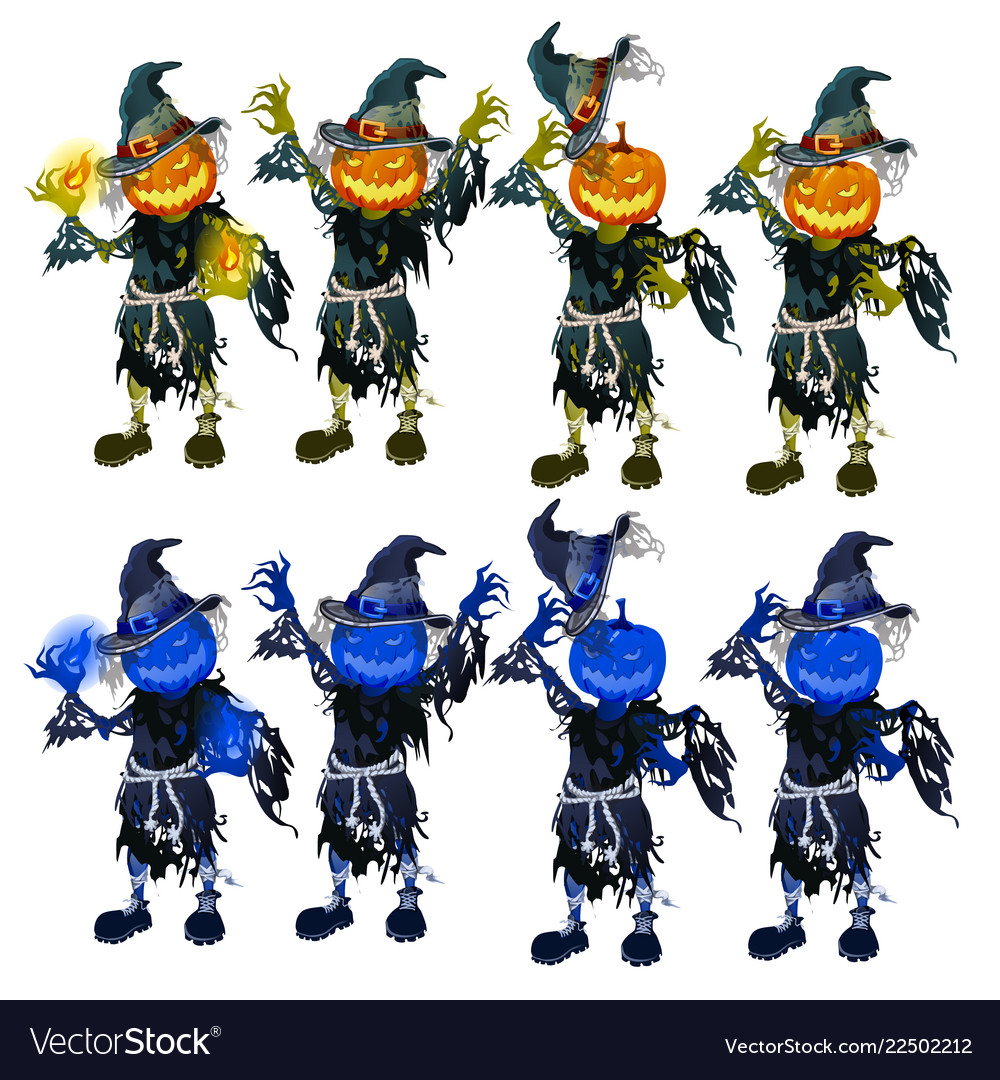 A set of scarecrows with heads in the form of