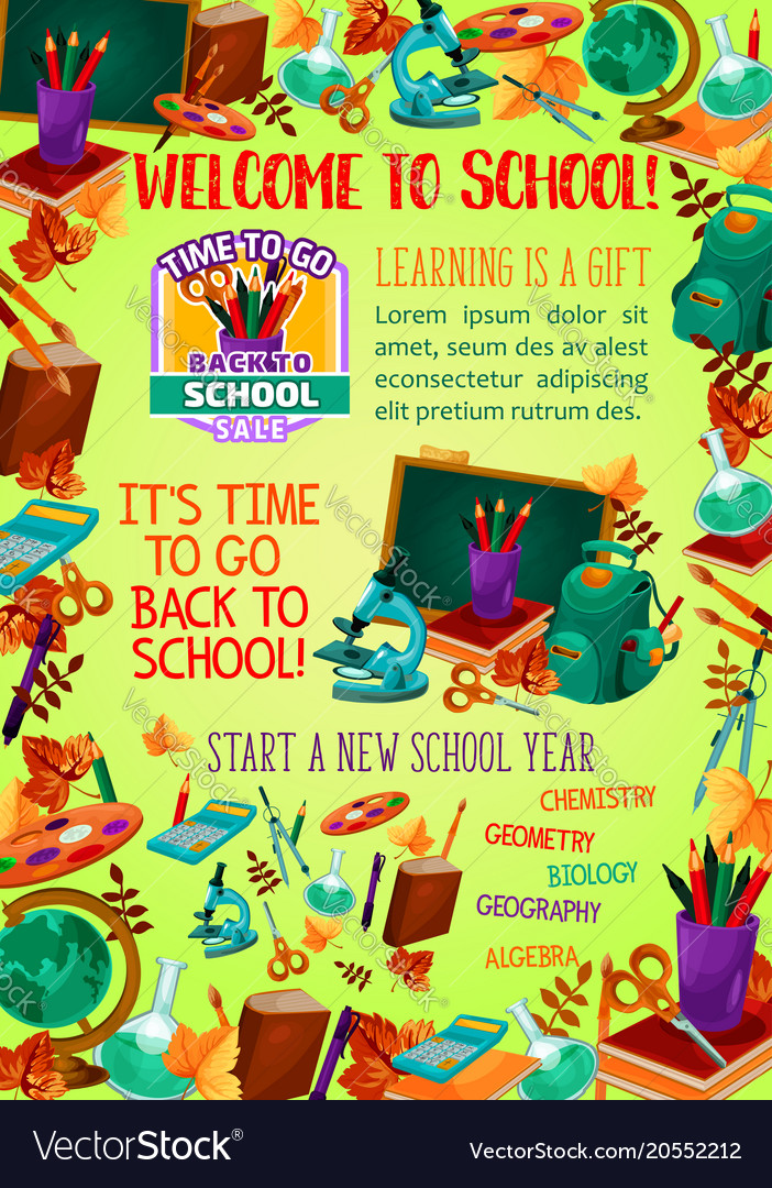 Back to school banner with education items frame Vector Image