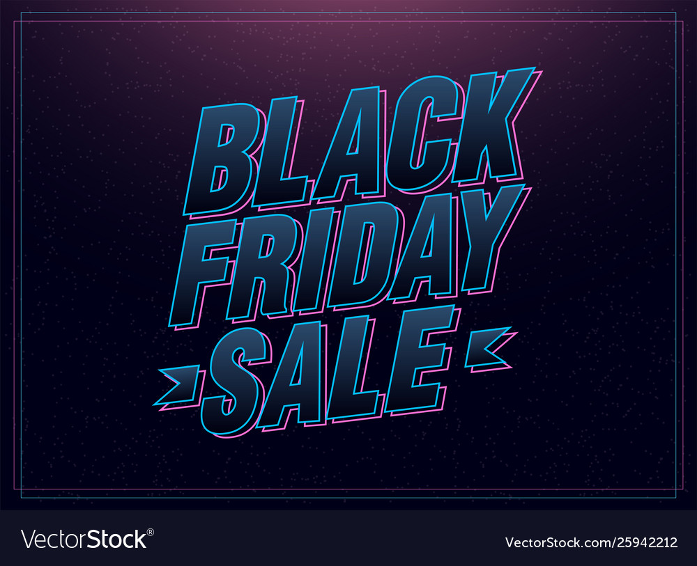 Black friday sale pink and blue italic letters on
