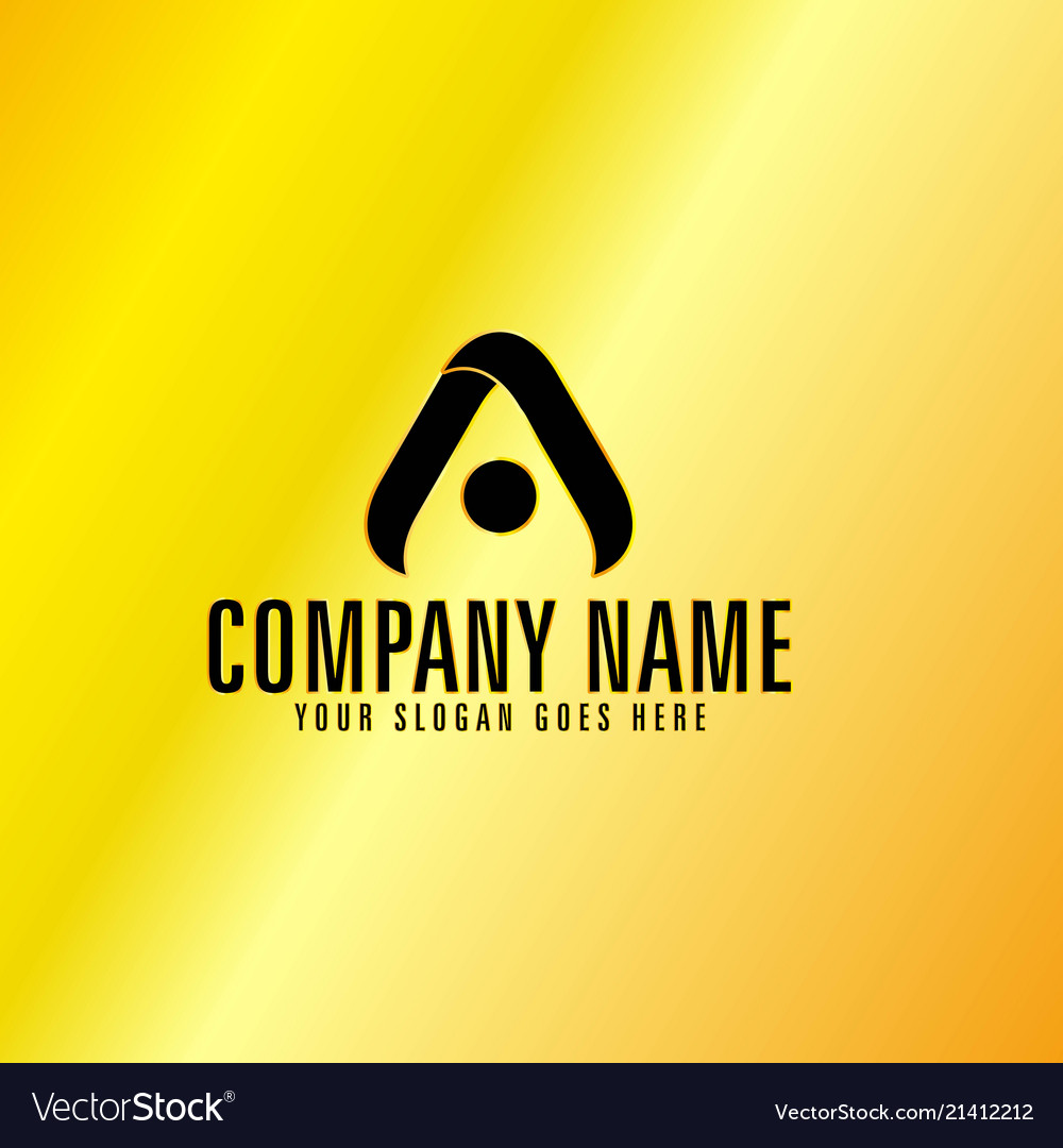 Black letter a emblem with golden background