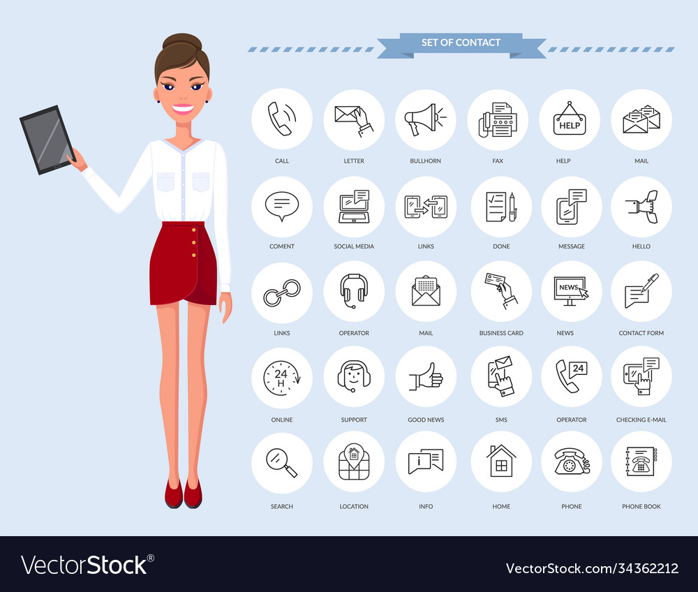 Communication thin line icons businesswoman with