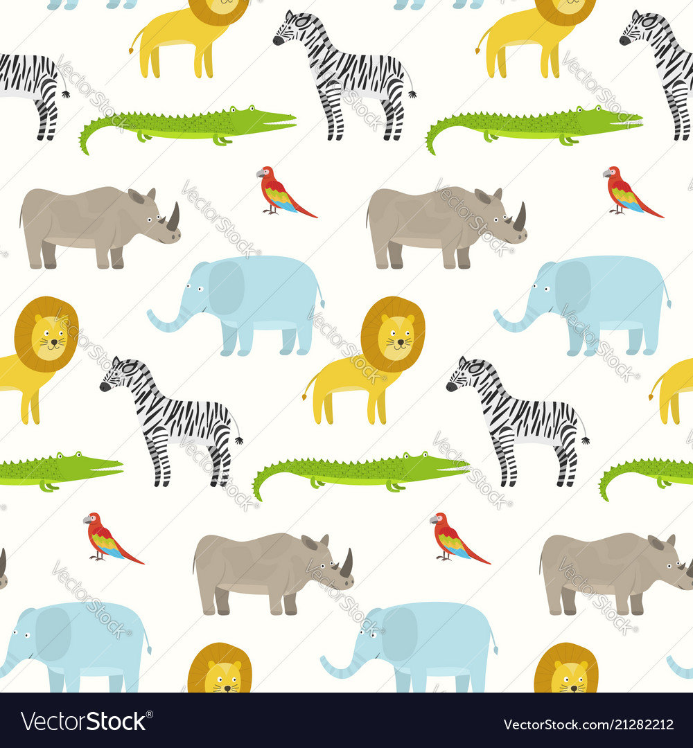 Cute cartoon smiling animals pattern