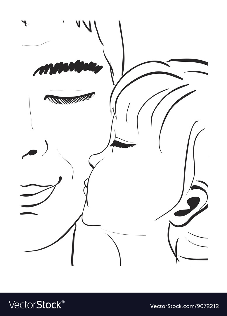 Daughter kissing father hand drawn sketch vector image
