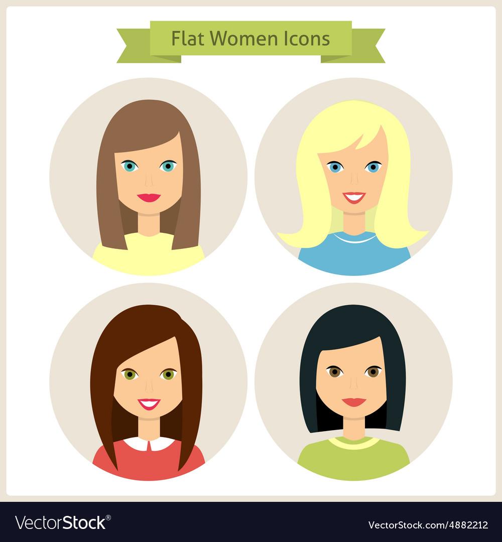 Flat Women Characters Circle Icons Set