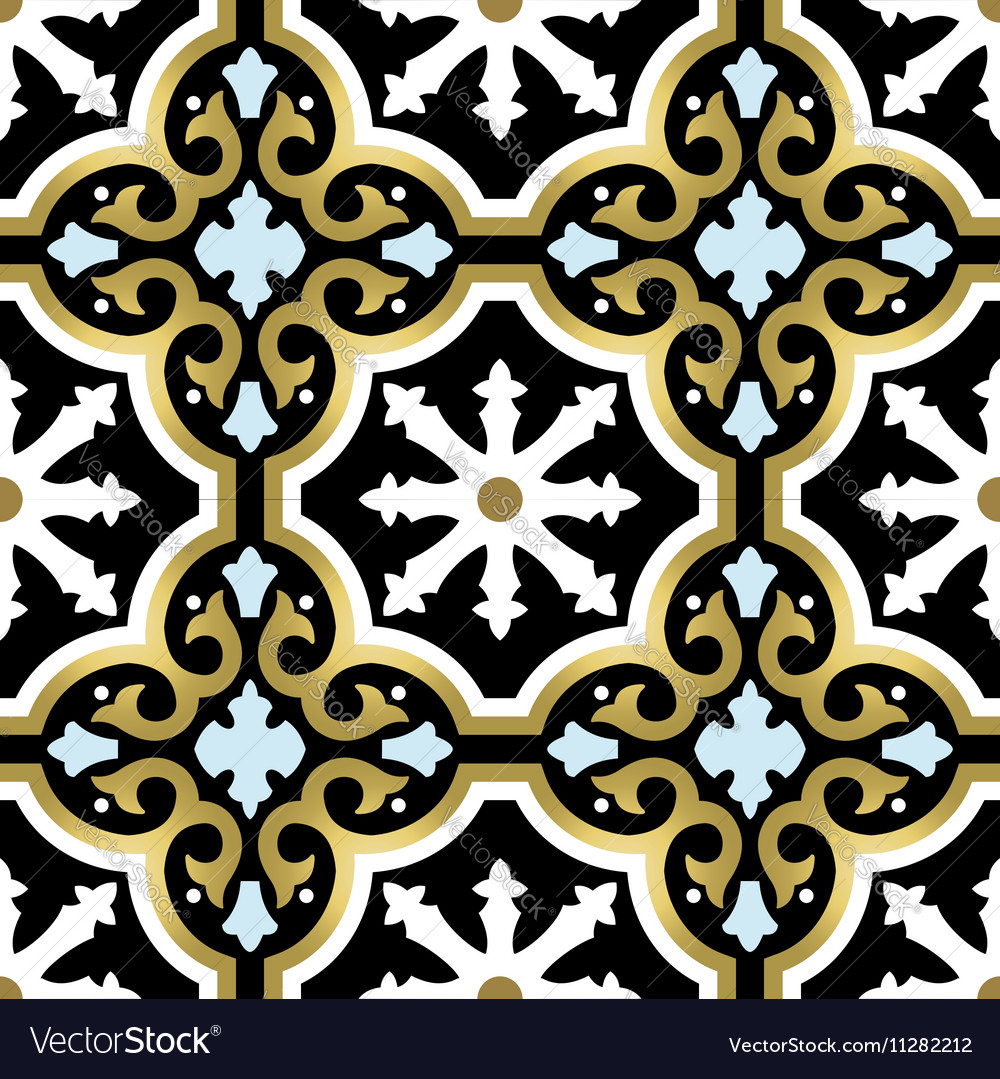 Gold ornamental seamless pattern in vintage style