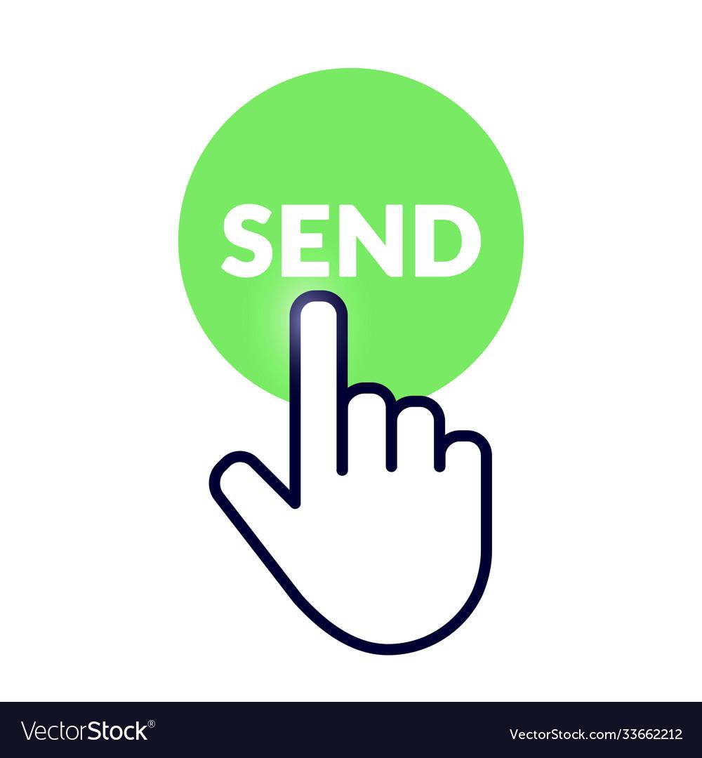 Hand cursor icon on green send button
