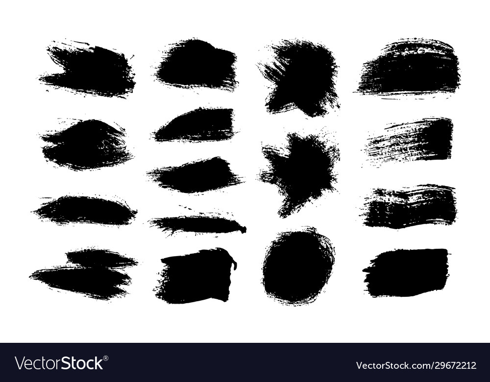 Ink brush stroke black set grunge isolated