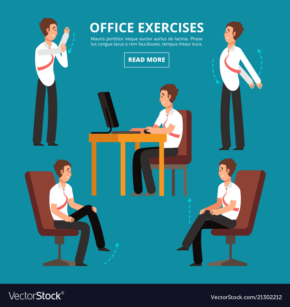 Office exercises at desk diagram for health