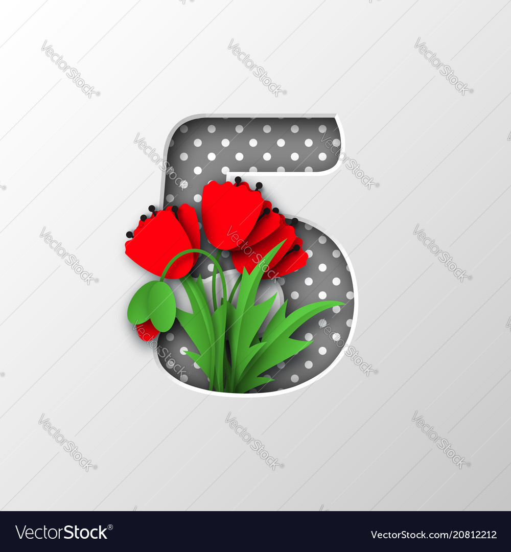 Paper cut number 5 with poppy flowers royalty free vector paper cut number 5 with poppy flowers vector image mightylinksfo