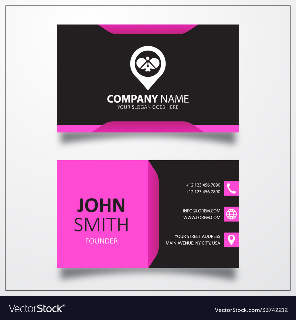 Ping pong with pin icon business card template