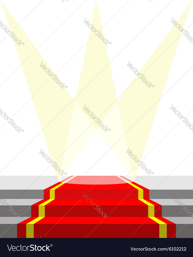 Red carpet for VIP persons and lighting do vector image
