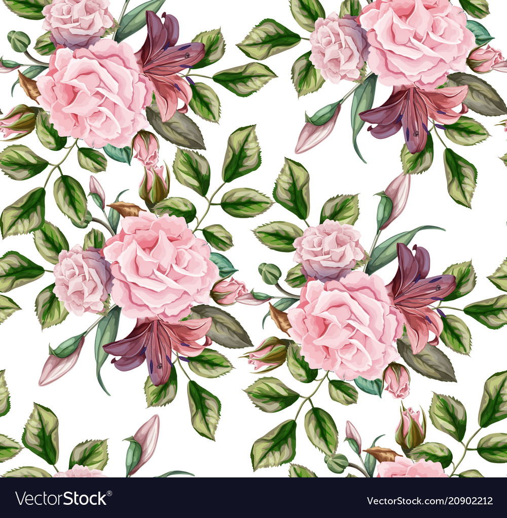 Rose flower blossom leaf seamless pattern