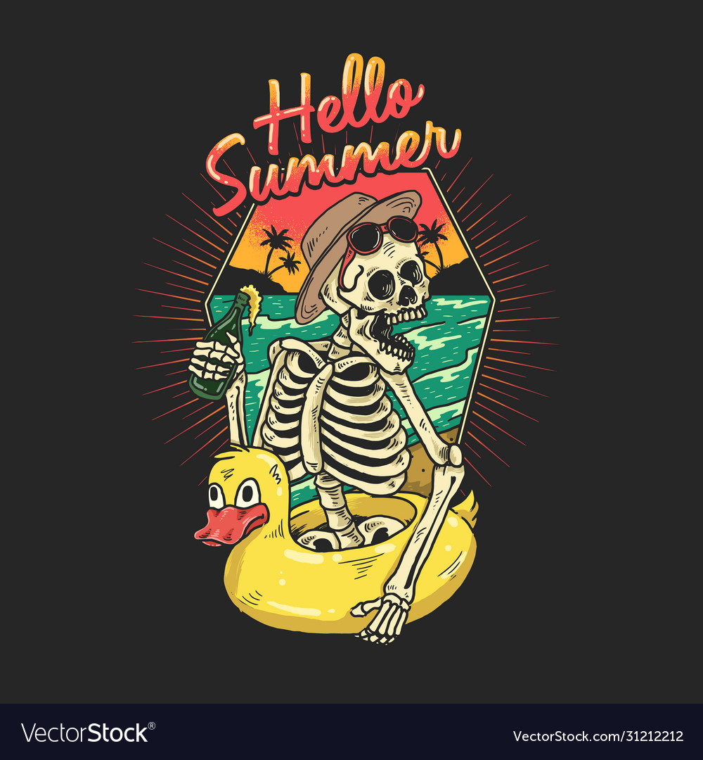 Skeleton is enjoying a vacation on a tropical beac