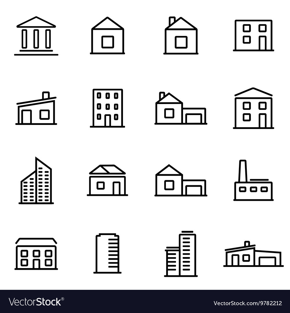 Thin line icons - buildings