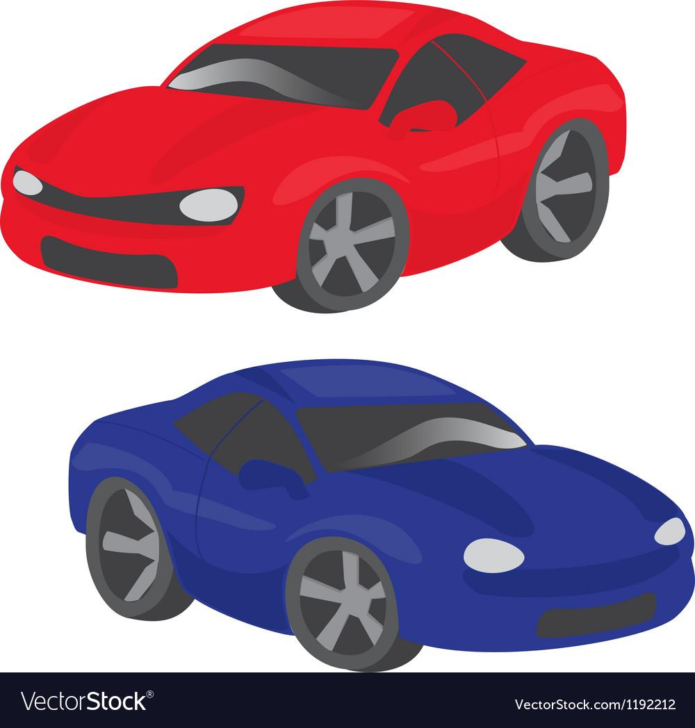 Two Cartoon Cars Royalty Free Vector Image Vectorstock