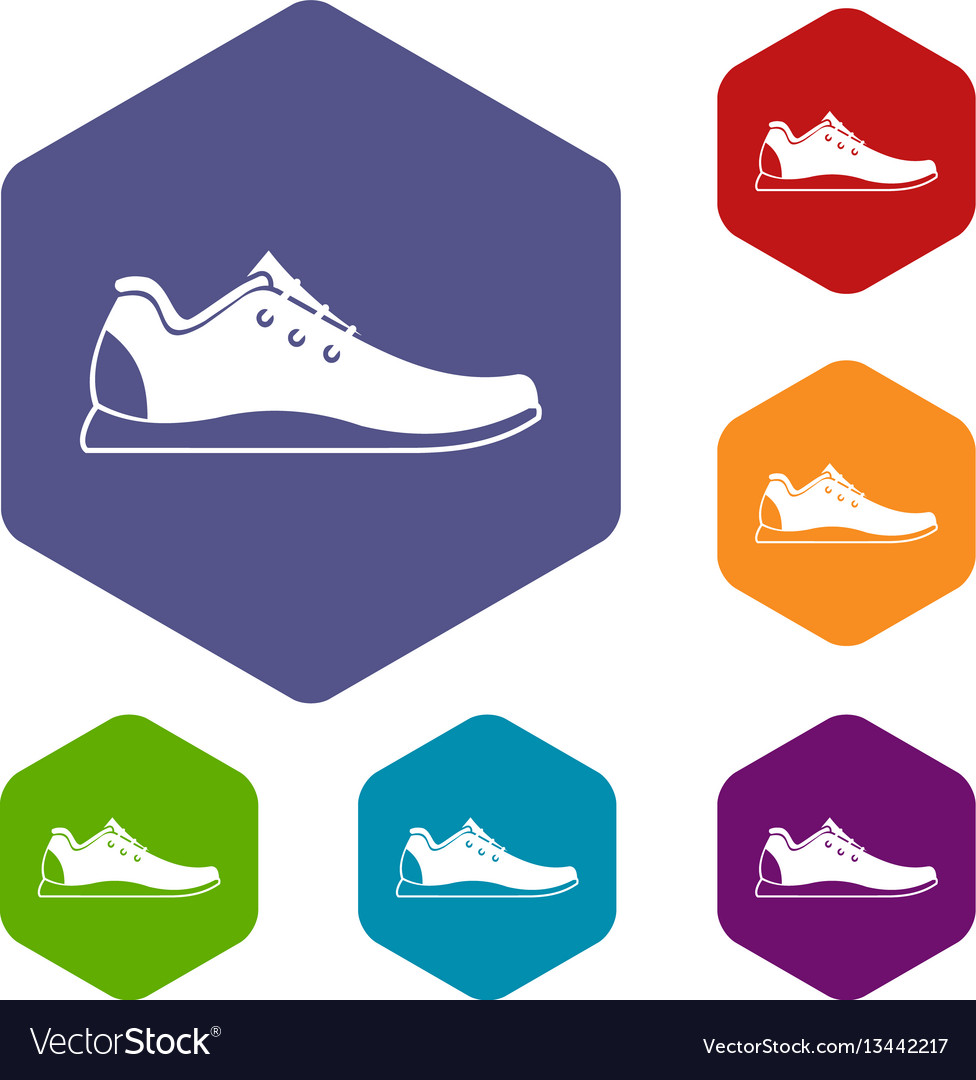 Athletic shoe icons set