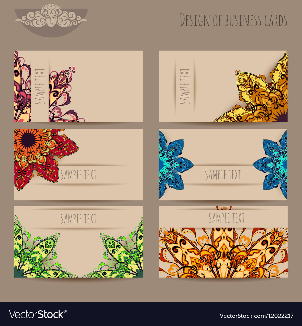 Business cards beige with mandala vector image