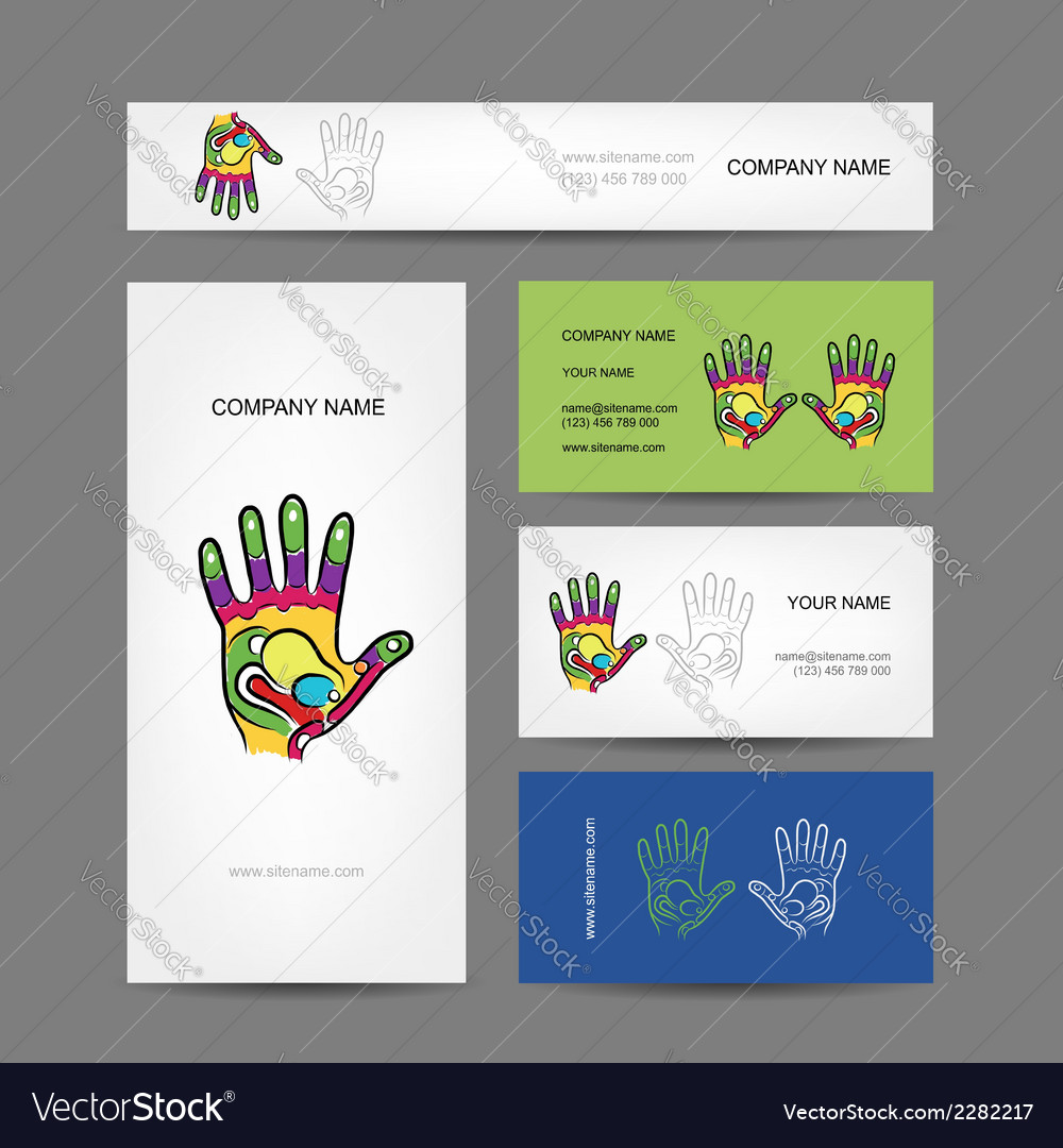 Business cards design with hand massage royalty free vector business cards design with hand massage vector image colourmoves