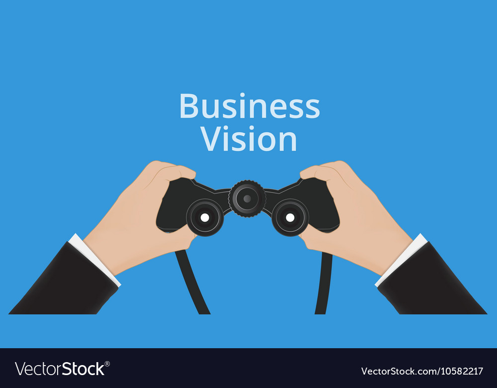 Business Man hand holds binoculars
