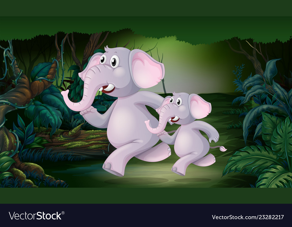 Elephant running in the jungle