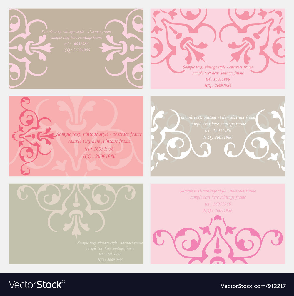Floral business card set Royalty Free Vector Image