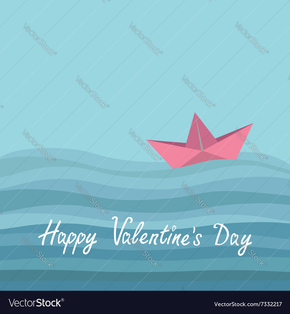 Happy Valentines Day Love card Origami paper boat