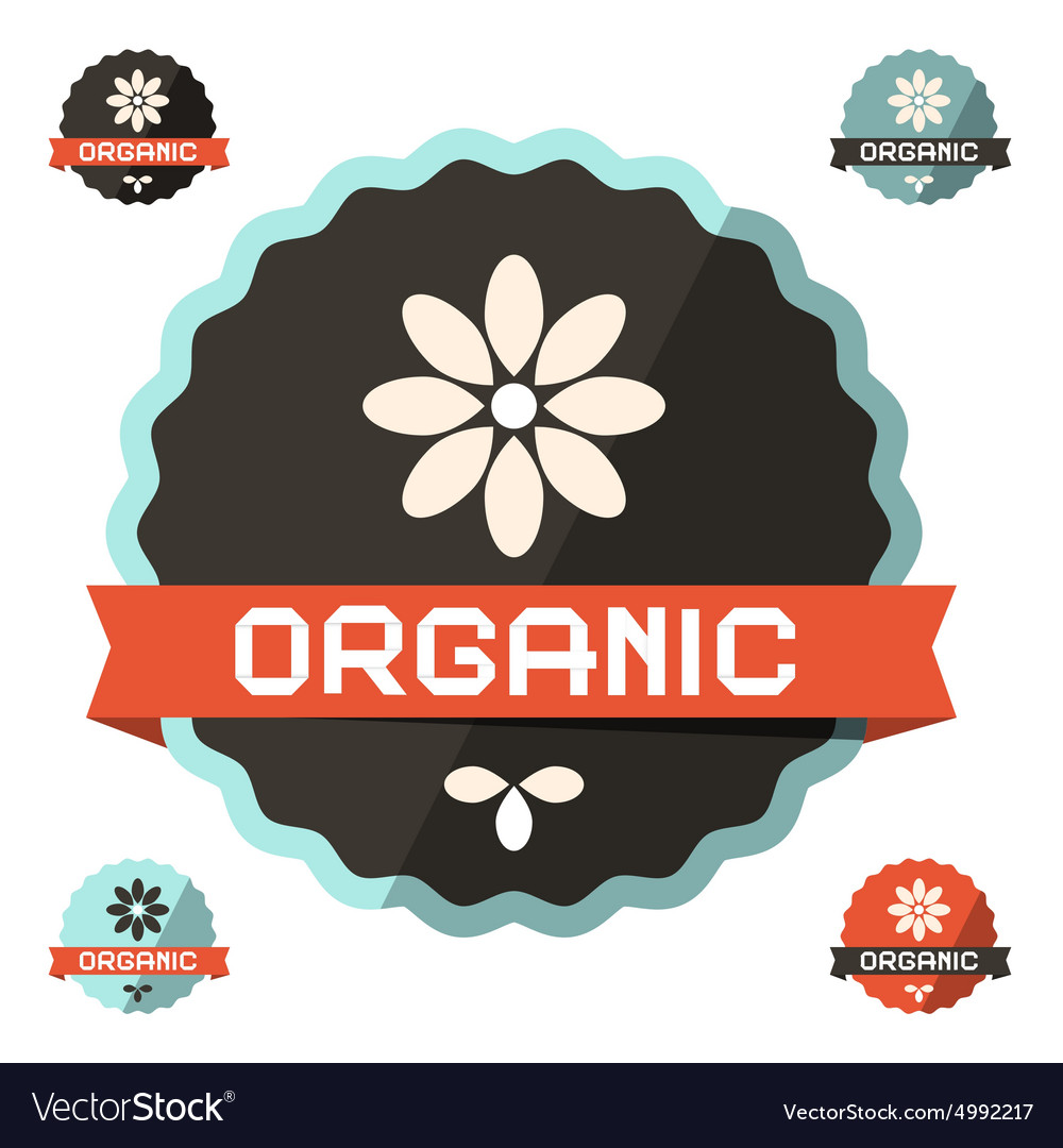 Organic Flat Design Label Icon vector image