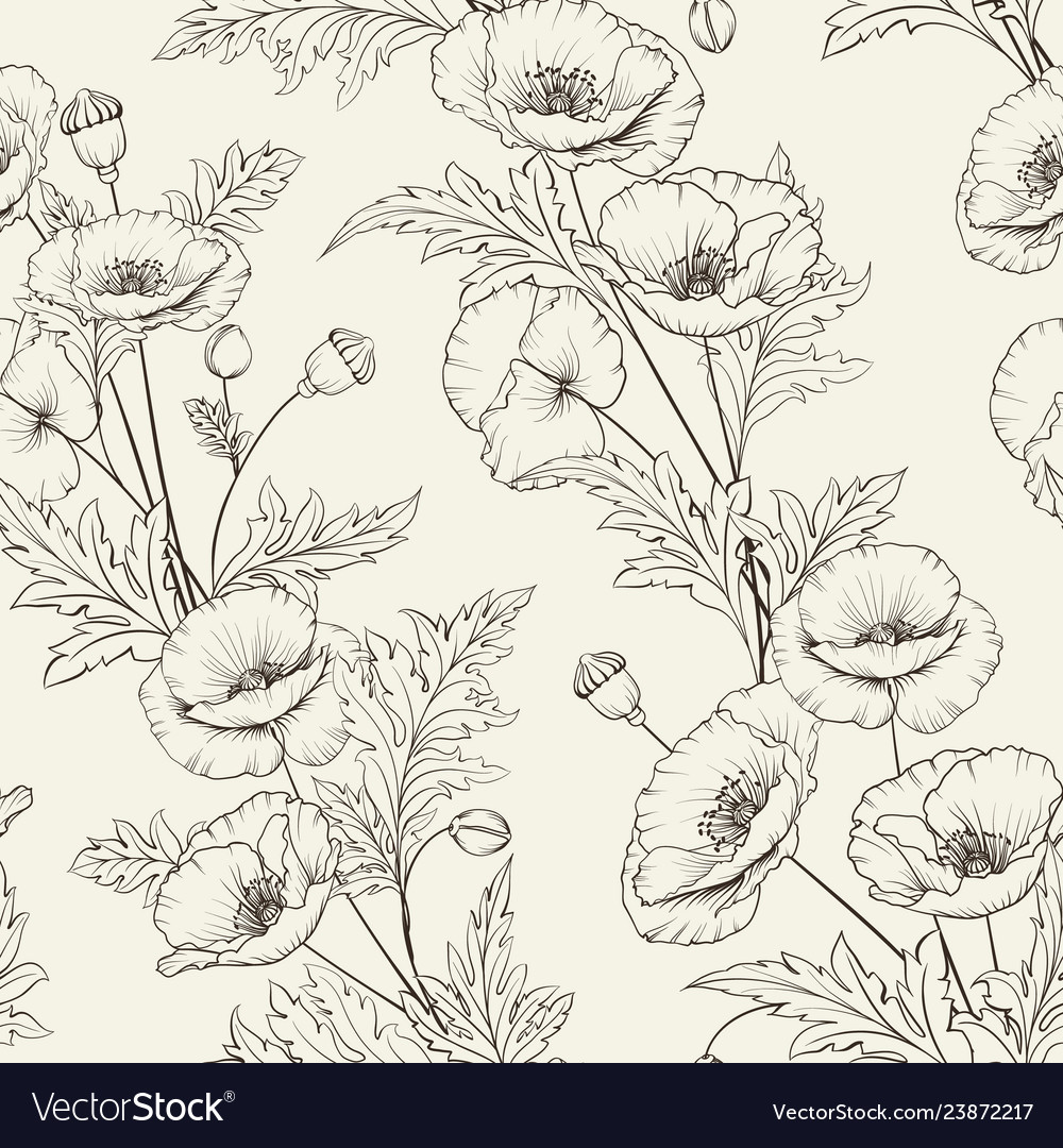 Pattern of poppy flowers on a gray background