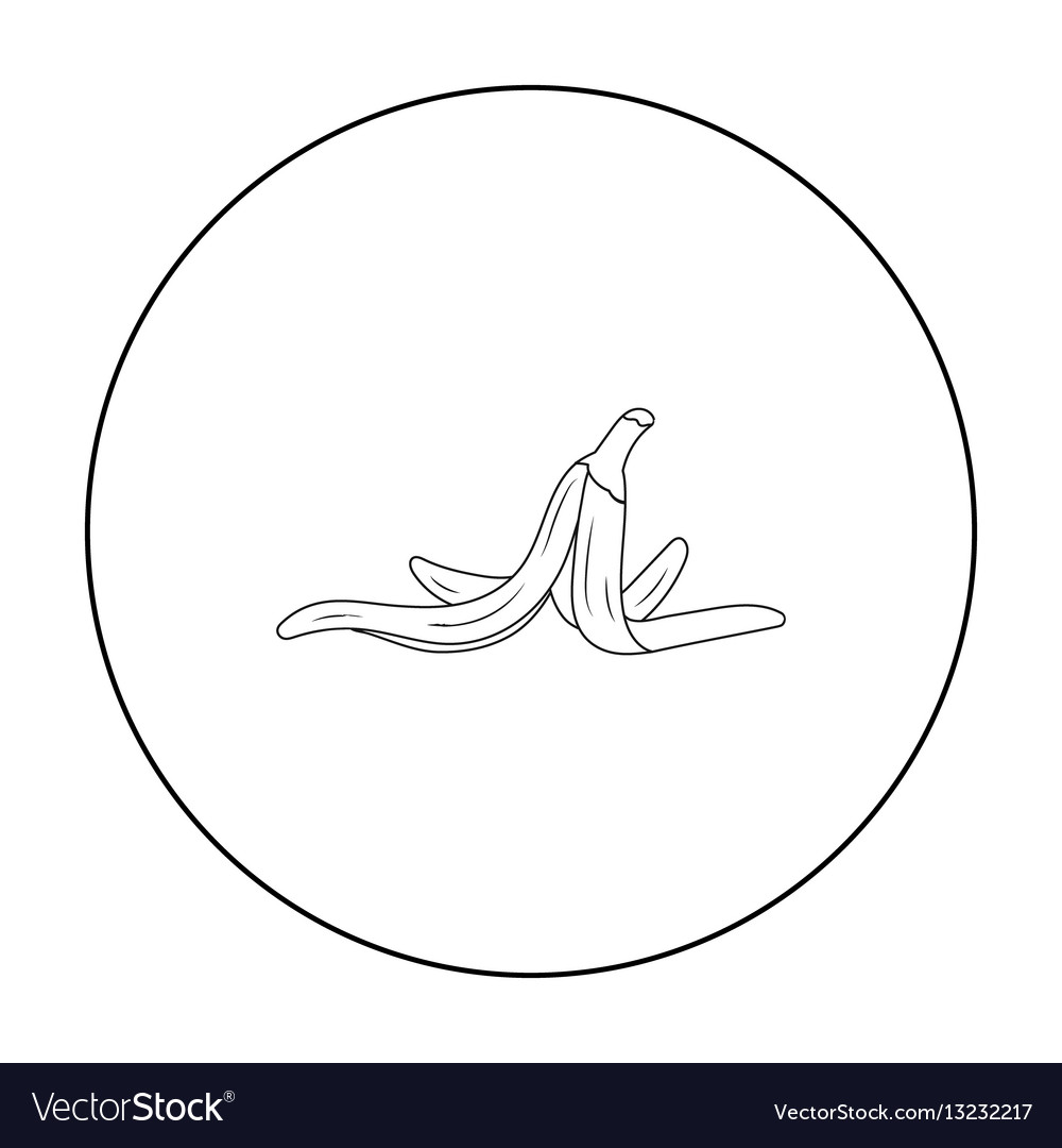Peel of banana icon in outline style isolated on vector image