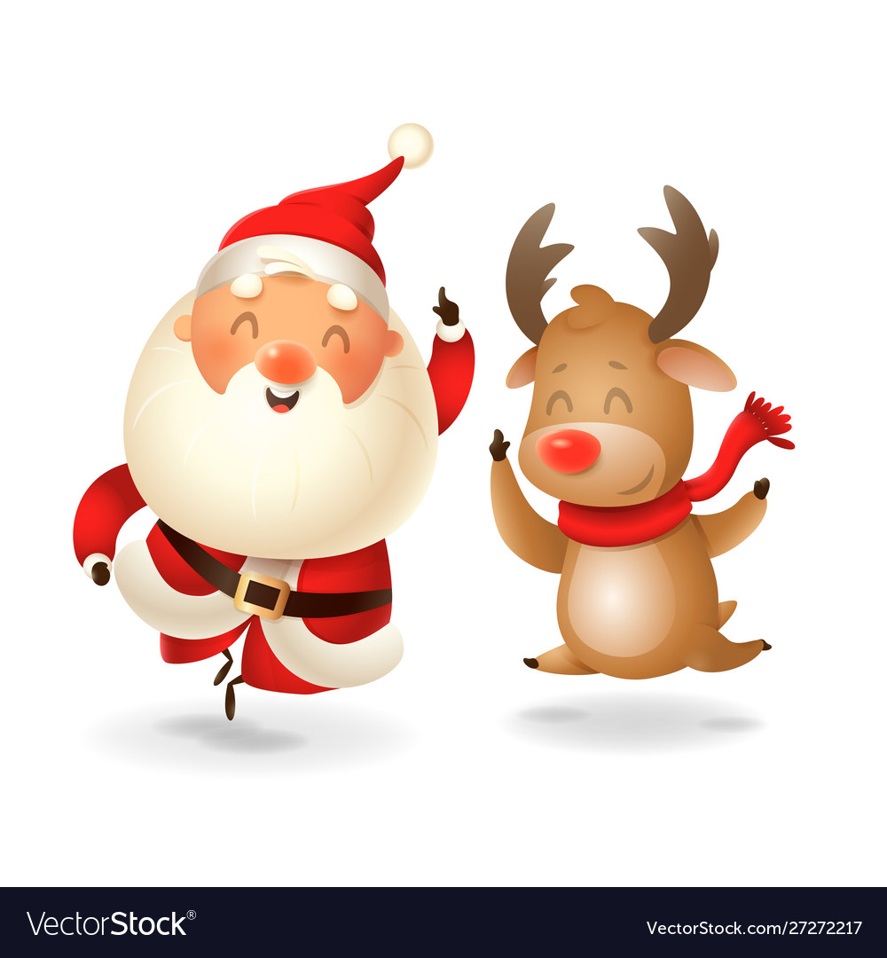 Santa claus and reindeer celebrate holidays - jump