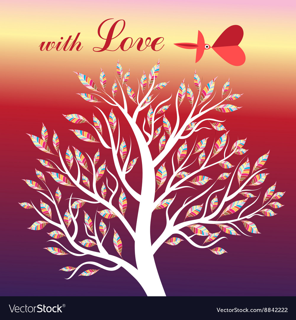 Card with tree and bird in love