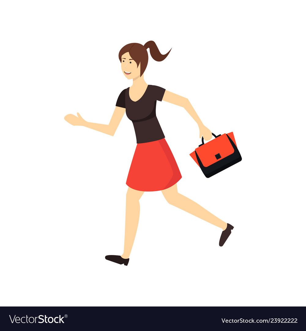 Cartoon character woman in a hurry