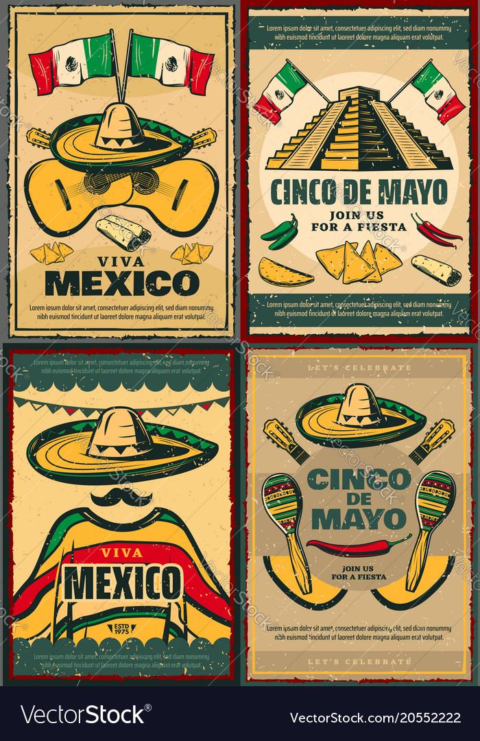 Cinco de mayo retro poster of mexican holiday vector image