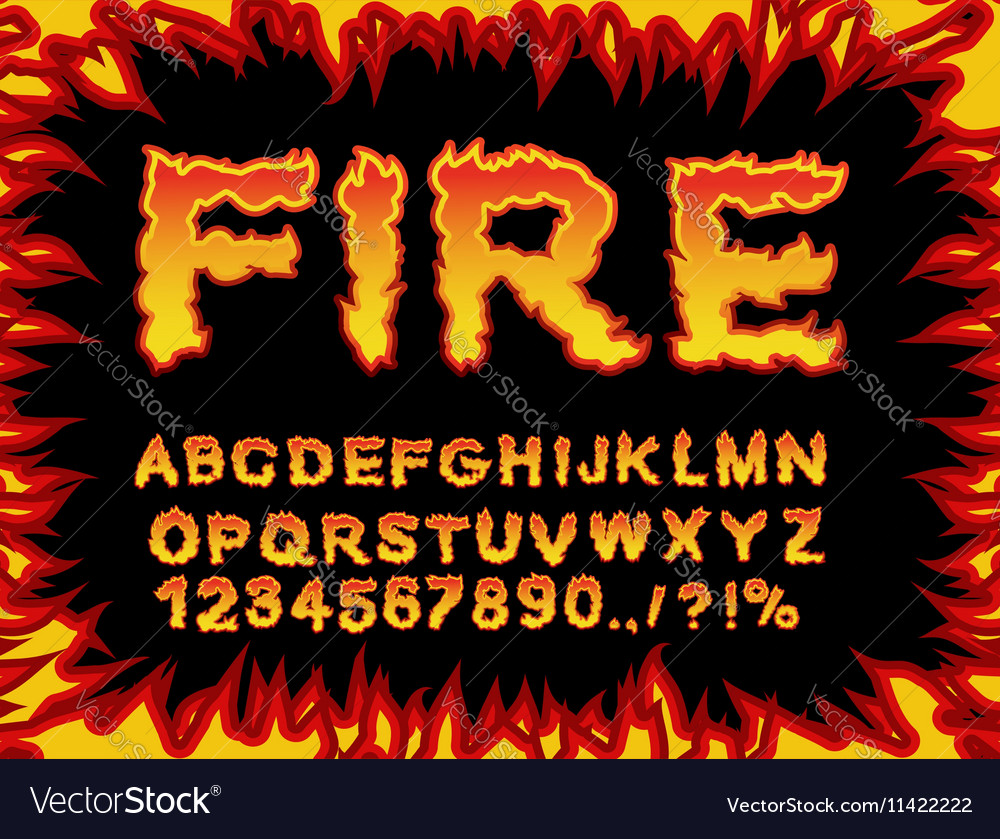 Fire Font Flame Alphabet Fiery Letters Burning Abc