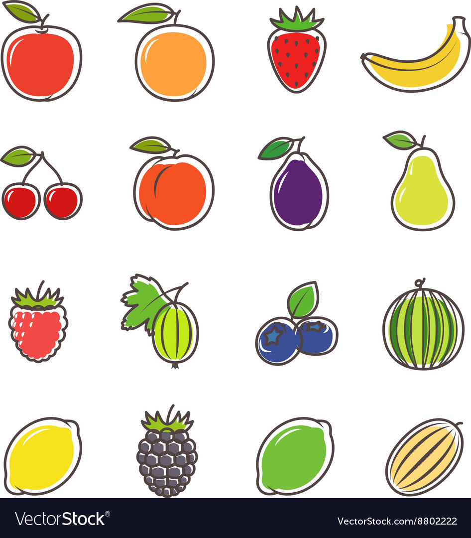 Fruit and berries line icons
