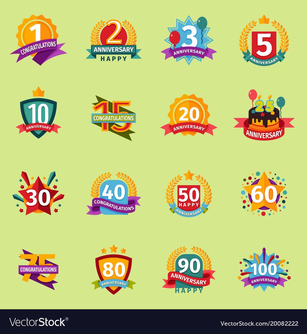 Happy birthday anniversary numbers badge