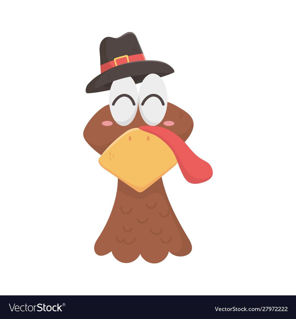 Happy thanksgiving day turkey head with pilgrim