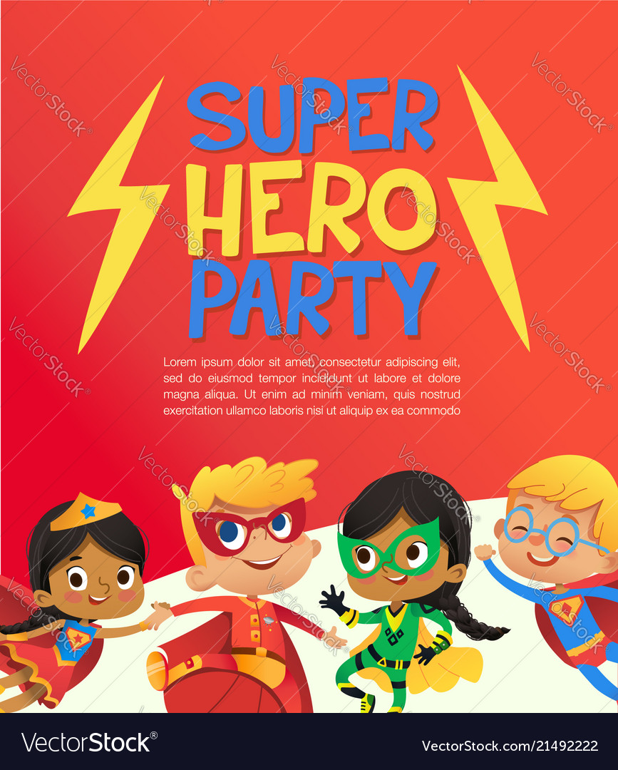 Joyous multiracial kids in super hero outfit and